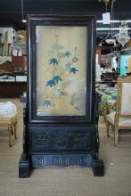 LARGE CHINESE SILK EMBROIDERED PANEL ON WOOD STAND