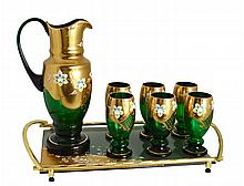 NO RESERVE, EIGHT PIECE BOHEMIAN GLASS DRINKS SET