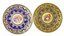 SET 6 ROYAL WORCESTER PORCELAIN PAINTED & GILT PLATES