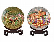 LARGE PAIR OF FAMILLE ROSE PORCELAIN CHARGERS, CHINESE