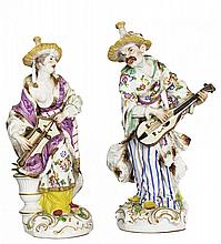 PAIR OF CONTINENTAL PORCELAIN CHINOISERIE FIGURES