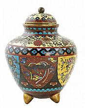 SMALL FINE CLOISONNE VASE AND COVER , JAPANESE