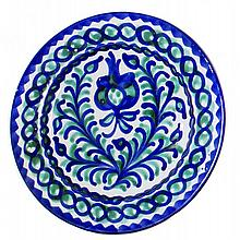 FAIENCE BLUE AND WHITE DECORATED PLATE