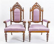 PAIR OF AMERICAN GOTHIC REVIVAL OAK ARMCHAIRS