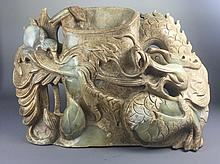 An Rare Old Jade Curving Dragon Display
