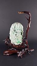 A Green Burma Jade Dragon Curving Statue