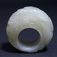 A Hotan Jade Dragon-framing Archer Ring