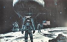 Robert T Mccal (1919-2010) - Litho first men on the moon