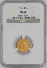 1910 $ 2.5 Gold Quarter Eagle Indian - NGC MS 62