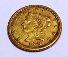 1861 $ 2.5 Gold Liberty CIVIL WAR ERA COIN