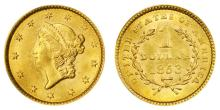 1853 US Gold $1 Liberty Head Type I