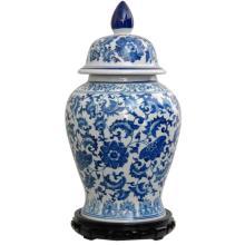 Blue & White Porcelain Temple Jar