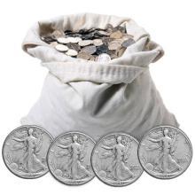 Bank Bag of $100 Face Walking Liberty Halves