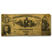 1861 $5  Confederate Currency Sailor w/ Cotton
