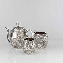 A Chinese Bamboo Pattern Silver Tea Set