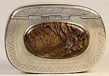 A George 111 Hard stone and Silver Snuff Box