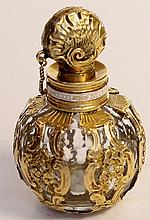 English Bulbous Cage Work Scent Flask, Circa 1760