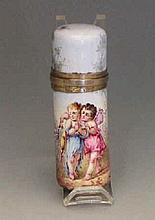 French Silver and Enamel Perfume Bottle, Circa 1850