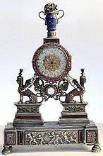 A Viennese silver & gem set clock . C1880