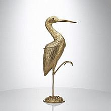 Dutch 950 Silver Gilt Box - Heron Figure C 1900