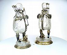 A unusual  pair of rock crystal figures, Vienna c1865