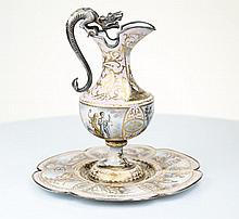 A Silver and enamel Jug and stand-dish, Vienna c1900