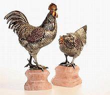 A pair of  Vienna silver & gem set  figures c1870