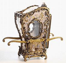 A silver gilt  & enamel sedan chair , Vienna c1880