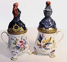 A Pair of rare Bilston enamel mustard pot. English c1780