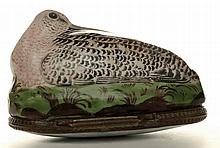 A Bilston enamel  Woodcock bonbonnaire. English c1780