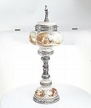 A unusual silver & enamel covered cup. Vienna c1875