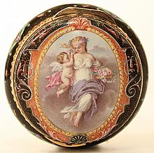 A Gold and enamel patch box French c1860