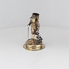 Austrian Silver Alpine Vintner Figure, Circa 1860