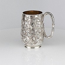 A Large Silver Mug by Wang Hing, for Tiffany.