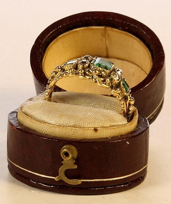 Nineteenth century gold emerald and diamond ring