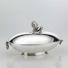 Georg Jensen covered Serving Bowl with Grapes