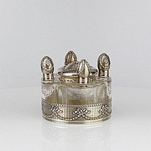 French Silver Fitted Perfume Set