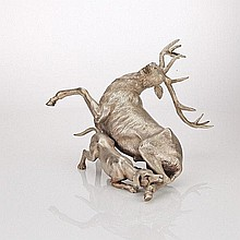Italian Silver Model of Hound Attacking a Stag