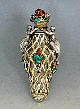 French Silver and Enamel Scent Flask
