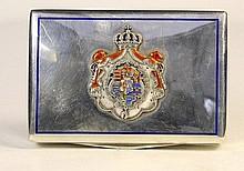 Silver and Enamel Heraldic Cigarette Box