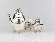 Georg Jensen Blossom sterling silver coffee set
