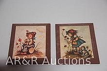 Hummel Style Children Print - Boy and Cat/ Girl with Cat - signed by Evens