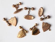 Three Pairs of 9ct Gold Cuff Links,