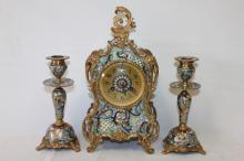 Ornate French Clock Garniture,