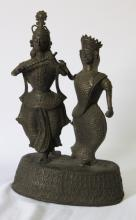 Pair of South East Asian Brass Dancing Figures,