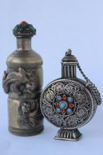 Two Metal Snuff Bottles and Stoppers,