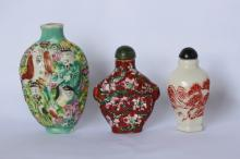Three Chinese Porcelain Snuff Bottles and Stoppers
