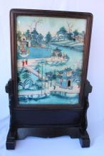 Chinese Reverse Painted Glass Table Screen,