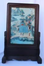 Chinese Reverse Painted Glass Screen,