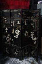 Chinese Four Panel Lacquer Folding Screen,